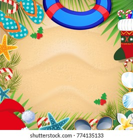Merry christmas and happy new year frame on a warm climate design background. Summer vacation accessories and palm leaves with santa hat, on sand background. Christmas beach frame with space for text