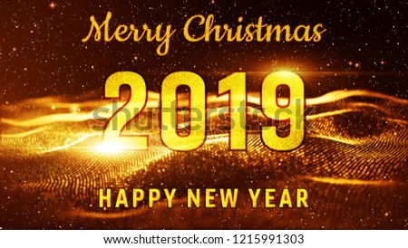merry christmas and happy new year 2019 gold color best for new year event