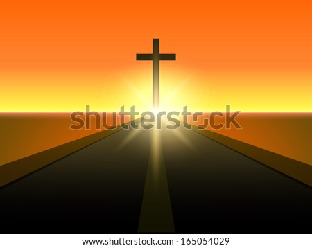 merry christmas and happy new year 2014 celebration concept with view of christian cross in evening
