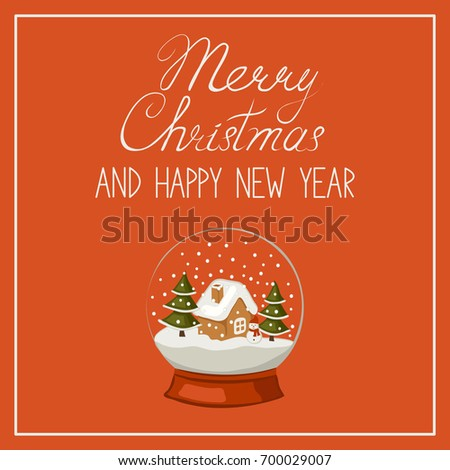 merry christmas and happy new year banner greeting card calligraphic text and a snow globe