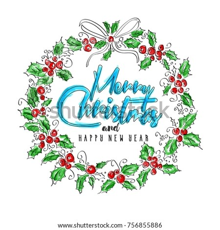 merry christmas and happy new year greeting wreath with lettering vintage watercolor illustration high - Merry Christmas And Happy New Year Clip Art