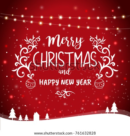 merry christmas and happy new year greetings card template illustration with hanging lights and winter