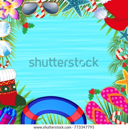 merry christmas and happy new year border on a warm climate design background summer vacation