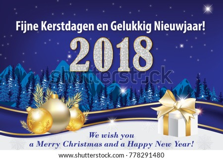 merry christmas and a happy new year 2018 written in dutch and english blue