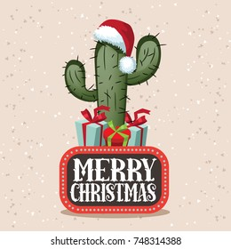 Merry Christmas illustration with cartoon cactus and gifts.