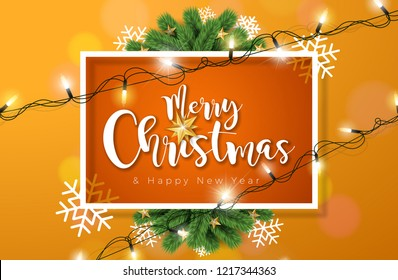 Merry Christmas Illustration with Lights Garland and Typography Elements on Orange Background.  Holiday Design for Flyer, Greeting Card, Banner, Celebration Poster or Party Invitation . JPG version.
