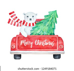 """""""Merry Christmas"""" illustration of red vintage truck back view, holiday greeting message and cute smiling bear driving with green pine tree. Hand painted watercolour drawing on white backdrop, isolate."""