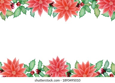 Merry Christmas illustration with watercolor hand drawn poinsettia and holly frame isolated on white background. Christmas decoration design for invitation, posters, greeting card