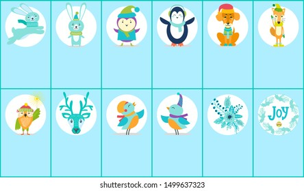 Merry Christmas images set, icons of penguin and dog, running rabbit, bird and fox, owl with Bengal light, stickers of two types raster illustration
