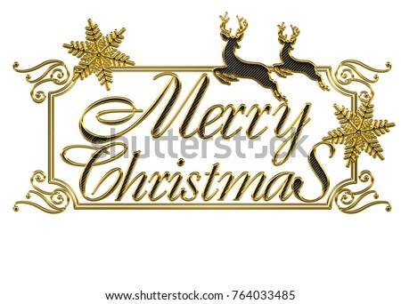 Merry Christmas Logo Golden Metal Texture Stock Illustration ...