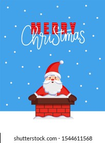 Merry Christmas major card with Santa look out from chimney. raster cartoon image of Jack Frost stuck in stovepipe. Character of Father Xmas in flue