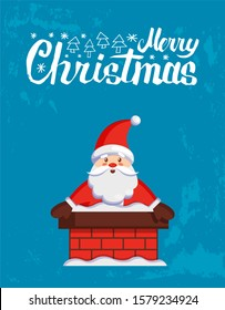 Merry Christmas major card with Santa look out from chimney. raster cartoon Jack Frost stuck in stovepipe. Character of Father Xmas on blue background