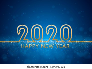 Merry Christmas. Modern minimalist flat style Happy new year 2020. Golden  luxury text banner. design template, card, banner.