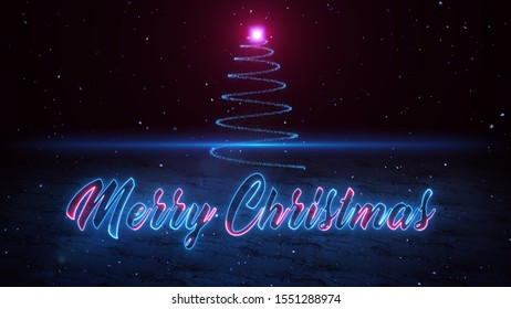 Merry Christmas Neon Glow Lettering In The Snowfall And Christmas Tree Light Spiraling Upwards