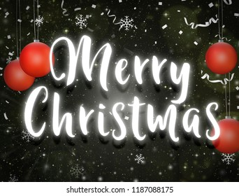 Merry christmas neon light text dark night sky stars background with red christmas and balls confetti
