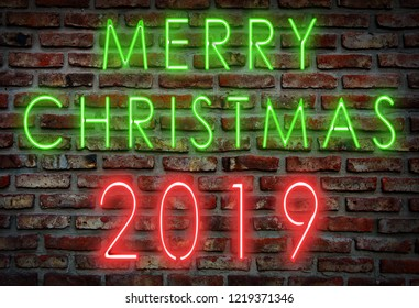 Merry christmas neon sign 2019