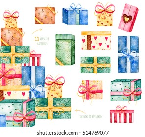 Merry Christmas and New Year collection.Handpainted watercolor set with 11 versatile gift boxes,they like to be stacked!Watercolor illustration.Perfect for Christmas invitations, Birthday invitations
