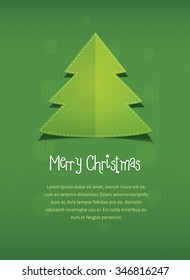 Merry Christmas postcard. flat style illustration of New Year trees with text frame placeholder. Green paper background with stripes and circles for card invitation greeting. modern design stock image