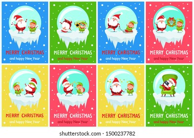 Merry Christmas posters Santa Elf in glass ball rest in armchair with gadget, decorate tree on ladder, dance at music, sing carols, play trumpet raster