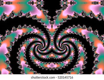 Merry Christmas, prosperous year and ... spirals of infinite pink, orange and green fractals, like a Christmas monster smile, Digital Christmas decorations