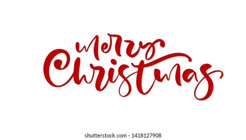 Merry Christmas red calligraphic hand drawn lettering text. illustration Xmas calligraphy on white background. Isolated element for banner postcard, poster design greeting card