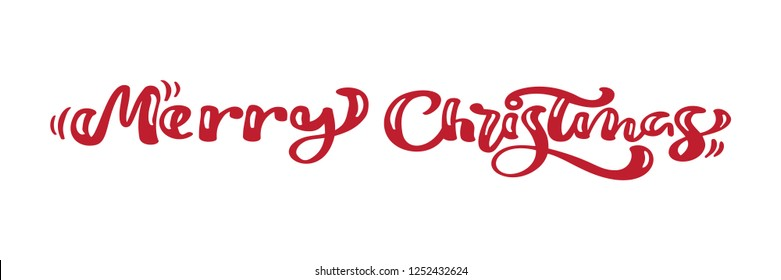 Merry Christmas red vintage calligraphy lettering  text. For art template design list page, mockup brochure style, banner idea cover, booklet print flyer, poster.