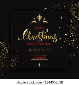 Merry Christmas sale banner on black background with christmas decor elements. illustration