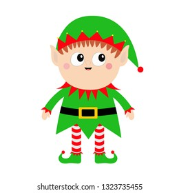 Merry Christmas. Santa Claus Elf icon. Green hat. Happy New Year. Cute cartoon funny kawaii baby character. Flat design. Isolated. White background.