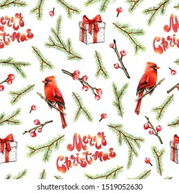 Merry Christmas seamless pattern with Cardinal bird, for, holly berries and gift box with red bow