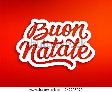 Merry christmas season greetings lettering text stock illustration merry christmas season greetings with lettering text in italian on red background xmas paper cut m4hsunfo