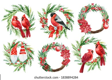 Merry christmas, set of festive wreaths on a white background, watercolor illustration