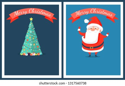 Merry Christmas set of posters with Santa Claus and bright decorated traditional tree. raster illustration with xmas symbol on blue background