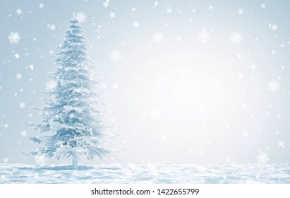 merry christmas with snow flakes - 3D Illustration