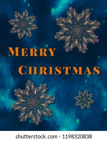 Merry Christmas text on bright colourful snowflake background - abstract painted effect