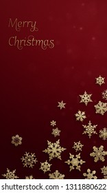 Merry Christmas - vertical banner with glitter snowflakes ( xmas , holiday )