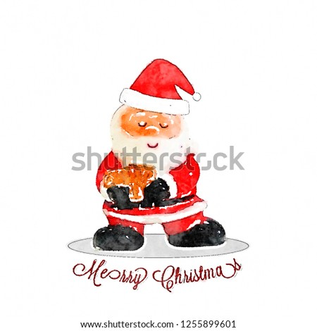 673db4502aa98 Merry Christmas watercolors cute Santa Claus on white background. Hand  drawn. - Illustration