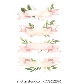 Merry Christmas. Winter Watercolor ribbon banners with snowflakes, holly, mistletoe, spruce branches. Hand drawn illustration. Perfect for invitations, greeting cards, prints, posters, advertising