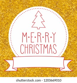 Merry Christmas wishes card with golden background