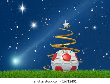 Merry christmas from the world of the soccer on starry background