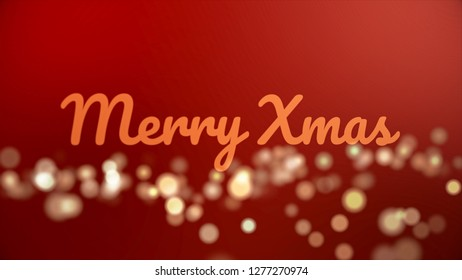 Merry christmass inscription made of neon letters on blue background with many fuzzy, round lights, celebration and winter holidays concept. Merry Christmass phrase with flying sparkles.