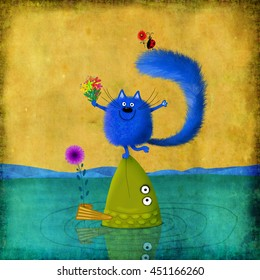 Merry crowd of fish, a cat and a little ladybug forming a pyramid and holding flowers.