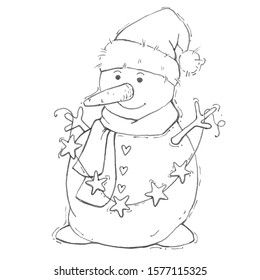 Merry snowman. Merry Christmas Coloring page. Black and white background. Coloring page for kids.