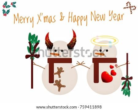 Merry Xmas Happy New Year Wording Stock Illustration 759411898 ...