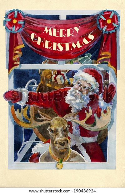 Merry Xmas Old Fashioned Christmas Watercolor Stock Illustration 190436924