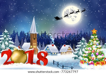 22f19b32daf35 meryy Christmas and happy new year greeting card on winter village. Santa  Claus with deers