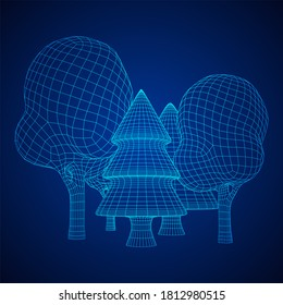 Mesh image of trees. Low poly background. Eco . Wireframe low poly mesh 3d render illustration