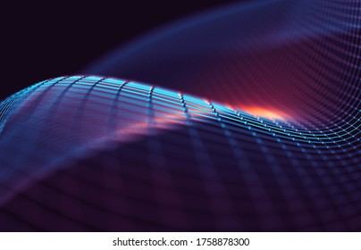 Mesh or net with lines and geometric shapes detail.3d illustration.Abstract background of tech and science.