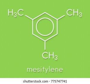 Mesitylene aromatic hydrocarbon molecule. Important solvent in chemical industry and volatile organic compound (VOC) pollutant in the environment. Skeletal formula.