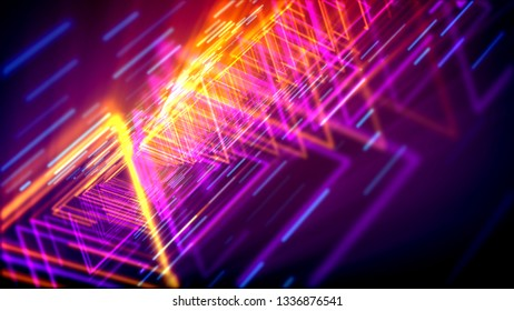 Mesmerizing 3d illustration of shining yellow and pink triangles forming lengthy and straight tubes for flying objects in the violet cyber world. It looks like flying through time pipes