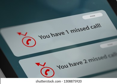 Message App with Missed Call Notifications on Smart Phone Screen. 3D illustration